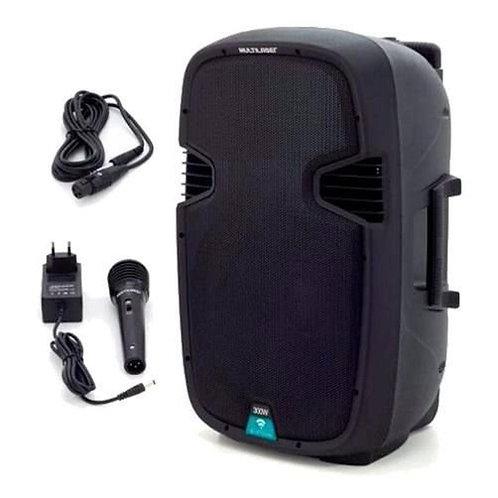 CAIXA DE SOM MULTIUSO AMPLIFICADA USB/SD/FM/BT + MIC 15 '' Bateria interna