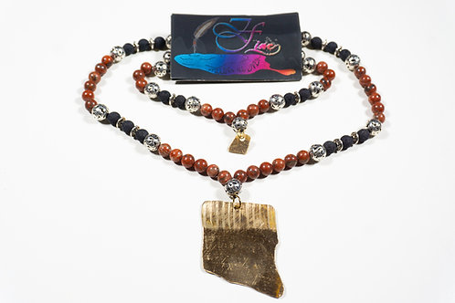 African Bloodstone and Black Lava Bead Jewelry Set
