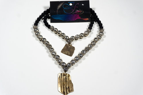 Tibetan Carved Silver Bead & Lava Bead Jewelry Set