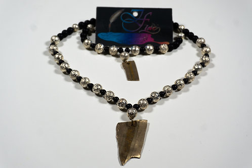 Silver & Black Lava bead Jewelry Set.