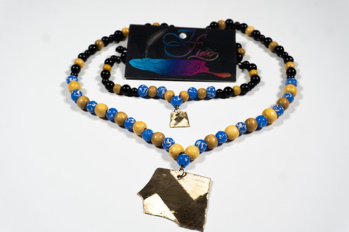 Blue Stripes, Wooden, and Black Lava Bead Jewelry Set