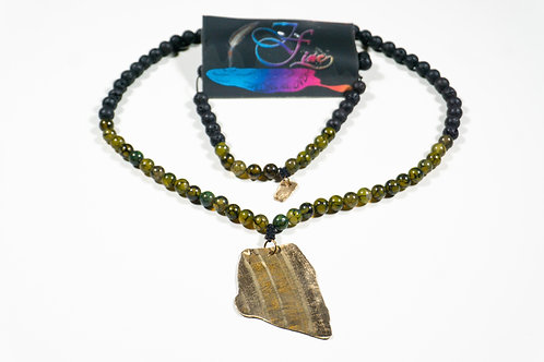 Malahill Agate and Black Lave Bead Jewelry Set