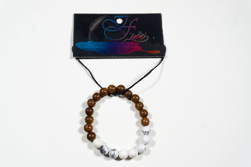 White Howlite and Wooden Bead Bracelet