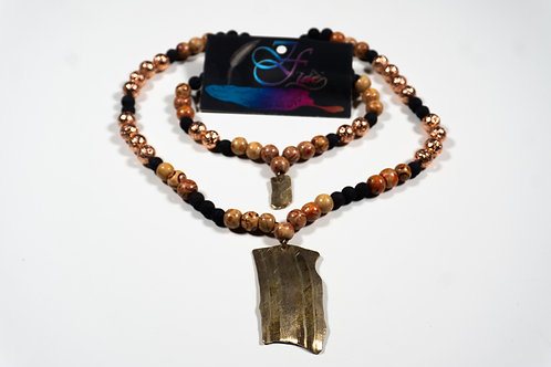 Wooden Beads w/ Rose Gold and Black Lava Beads Jewelry Set