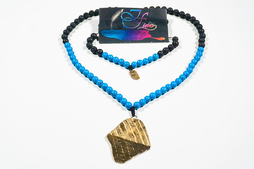 Turquoise and Black Lava Bead Jewelry Set