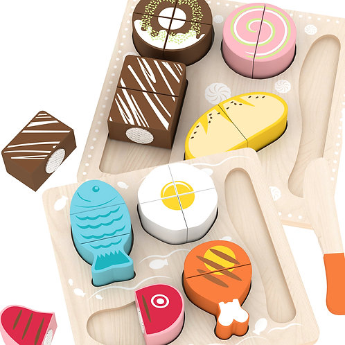 Wooden Play Food Sets - Dinner & Dessert