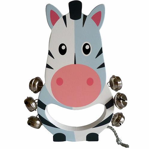Zebra Wooden Hand Bell