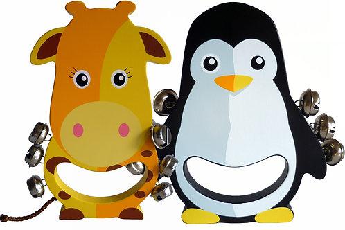 Wooden Hand Bell Rattle Set Giraffe And Penguin