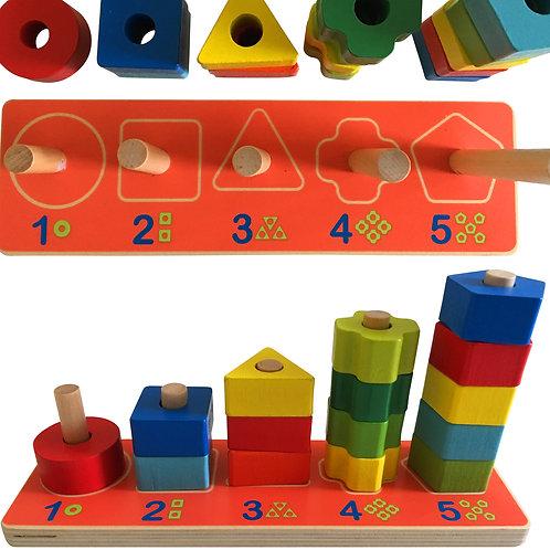 Wooden Geometric Shape Sorter Board