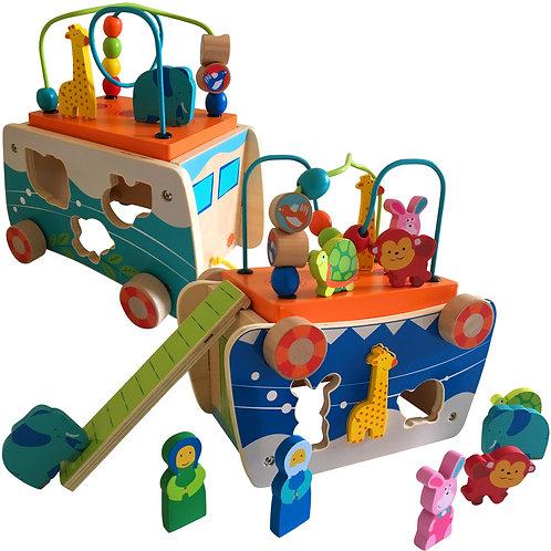 Wooden Noah's Ark Pull Along & Shape Sorter Playset