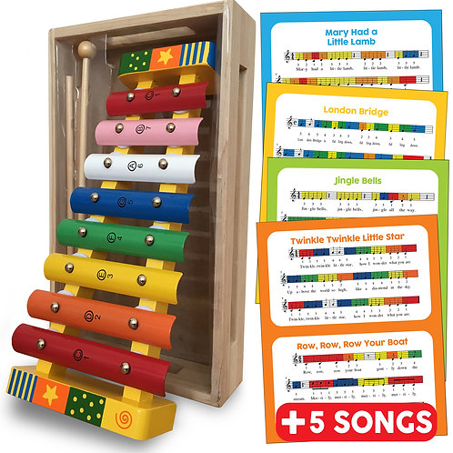 Wooden Musical Xylophone with Song Sheets