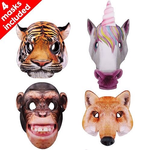 Set of 4 3D Animal Mask