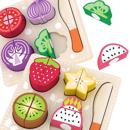 Wooden Play Food Sets - Fruit & Vegetables