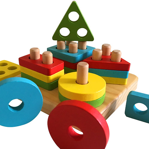 Wooden Stack & Learn Geometric Shape Puzzle