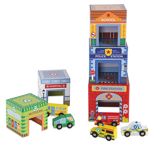 Traffic Match 'n Stack Blocks with Wooden Vehicles
