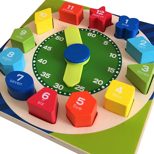 Wooden Teaching Clock & Shape Sorter Puzzle