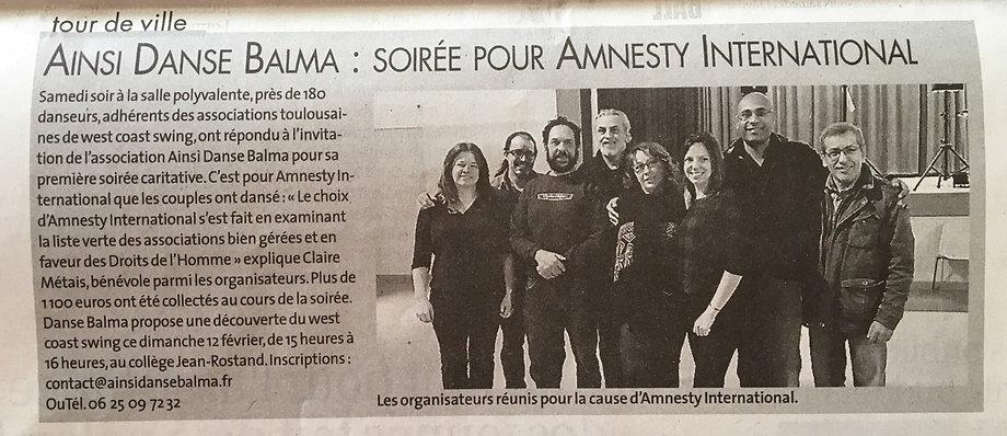 soirée wcs en faveur d'amnesty international