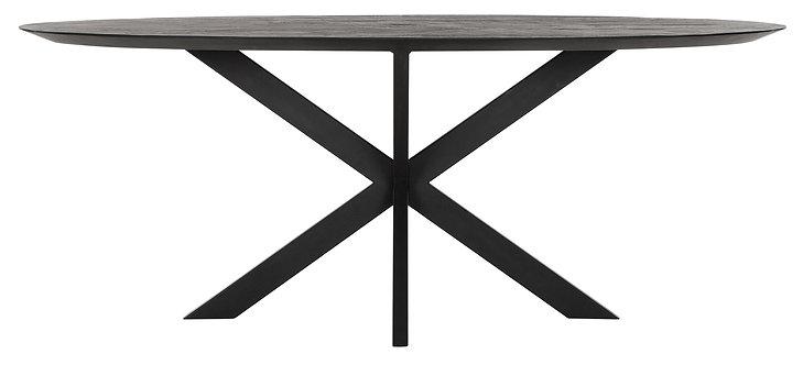 DTP Home,  Esstisch Oval BLACK , 200cm, Timeless BLACK, recyceltes Teakholz