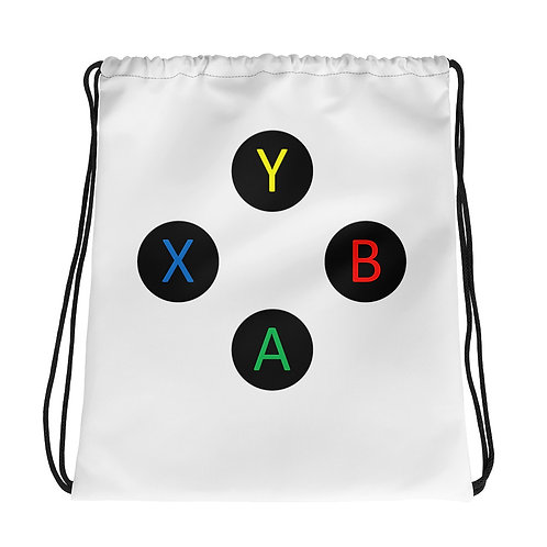 Controller Buttons Drawstring Bag-White