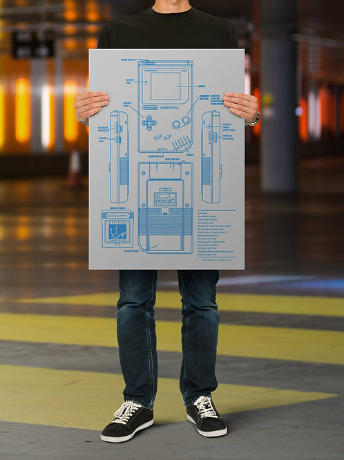 Game Boy Console Blueprint Poster
