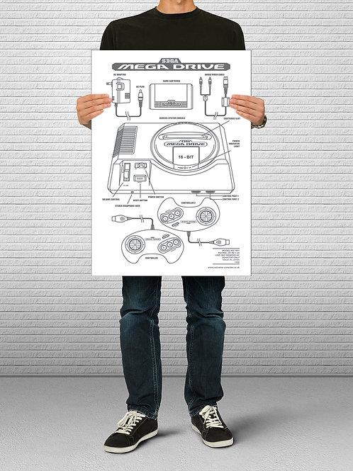 Mega Drive Console Blueprint Poster
