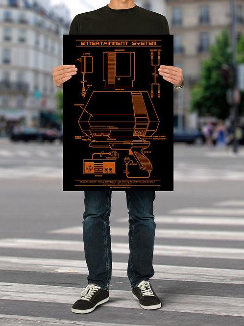 Entertainment System (NES) Console Blueprint Poster