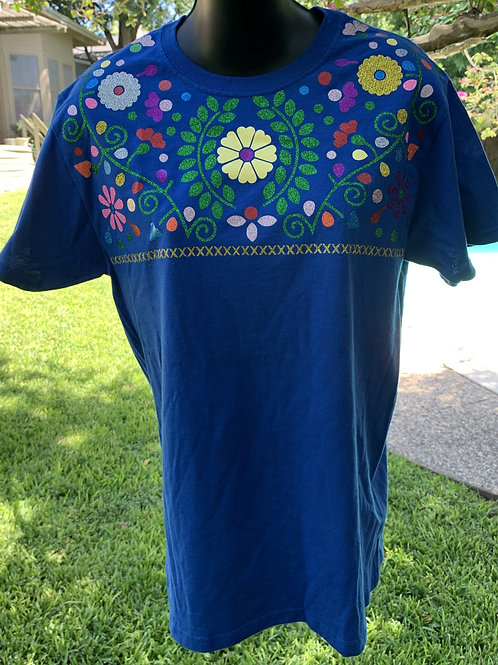 Mexican Tee - Blue Small Tee Yellow Flower Medallion