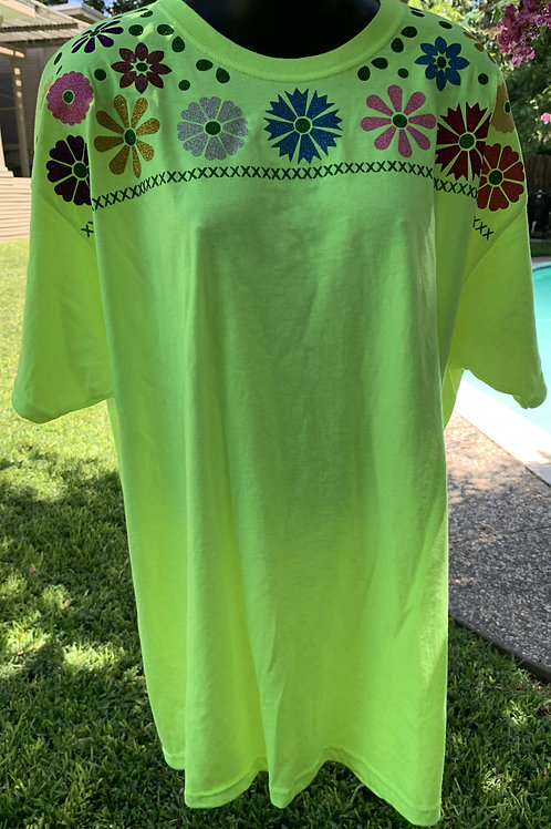 Mexican Tee - Yellow X-Large Tee Blue Flower Medallion