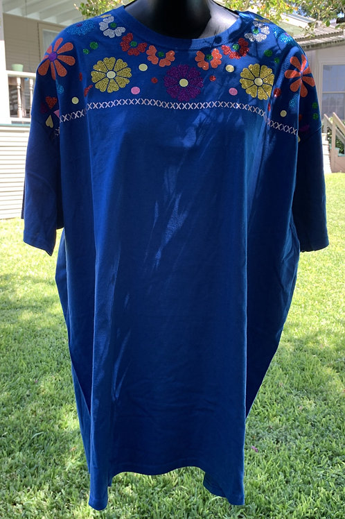 Mexican Tee - Blue X-Large Tee With Purple Flower Center
