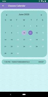 Argentine Tango app calendar