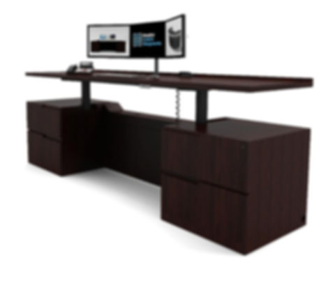 Adjustable Height Credenza Desk_ Houston