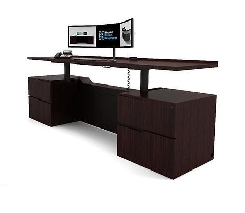 Adjustable Height Credenza Desk_ Houston