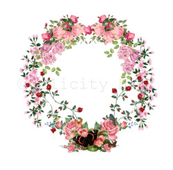 Glitchy Floral Wreath - Blank