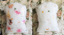 Clear Grave Pillow, with flowers