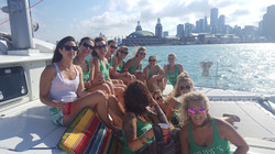 Bachelorettes on the foredeck