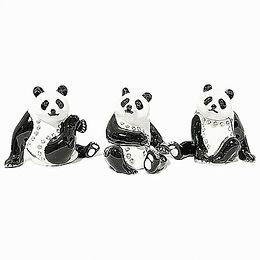 パンダ3点セットのトリンケットボックス(ペタン座り・腕あげ・足あげパンダ)