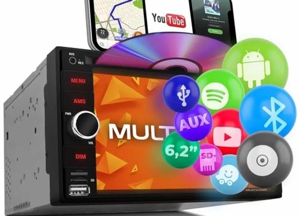 """Central Multimídia Multilaser 2 Din Evolve Light P3321 6.2"""" Bluetooth Espelhamen"""