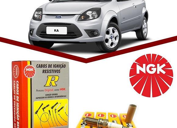 Kit Cabos + Velas Ford Ka 1.0 8V Zetec Rocam Flex 2009 a 201
