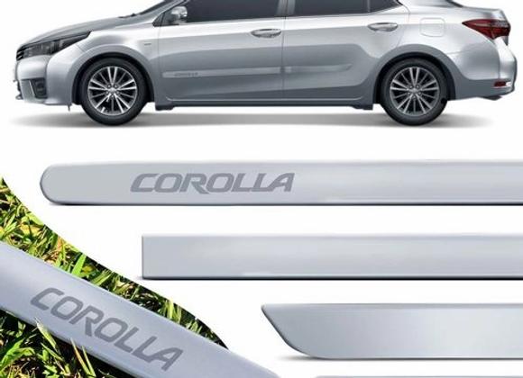 Jogo De Friso Lateral Corolla 2008 A 2019 Prata Super Nova Cor Original Grafia D