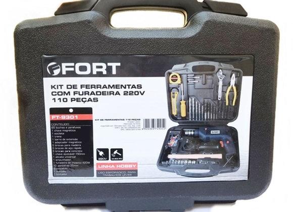 Furadeira Impacto 3/8 420W 220V com Kit de Ferramentas Completo Jogo 110 Peças e