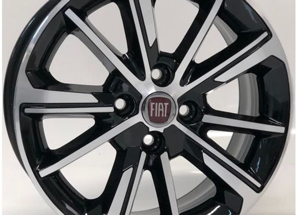 Jogo De Roda Aro 15 Fiat Cronos Preta Diamantada 4x98