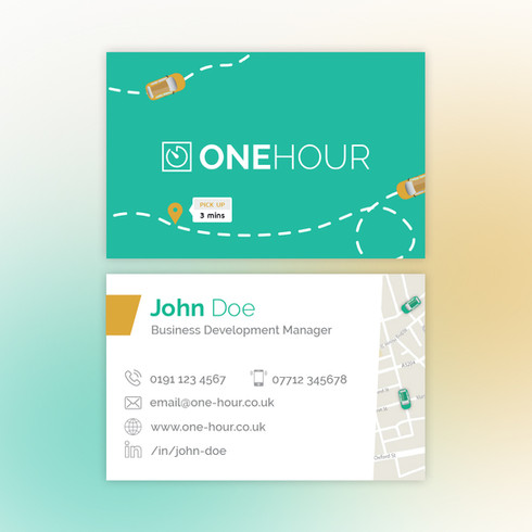One Hour business card