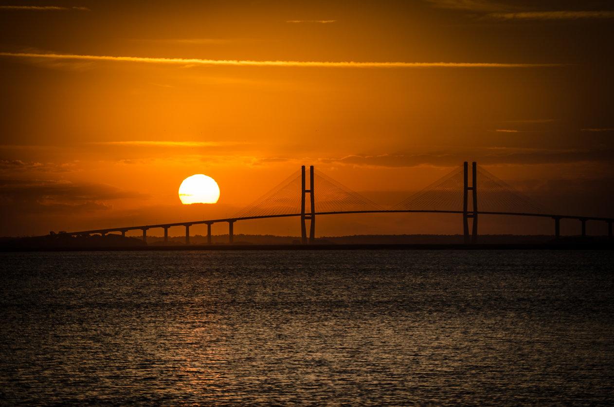 Sidney Lanier Suspension Bridge at Sunse