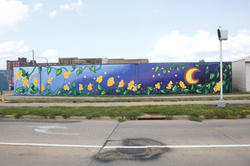 Waterloo Iowa Murals, Dawn and Dusk pairing.  329 W. Sixth and 325 W. Fifth streets