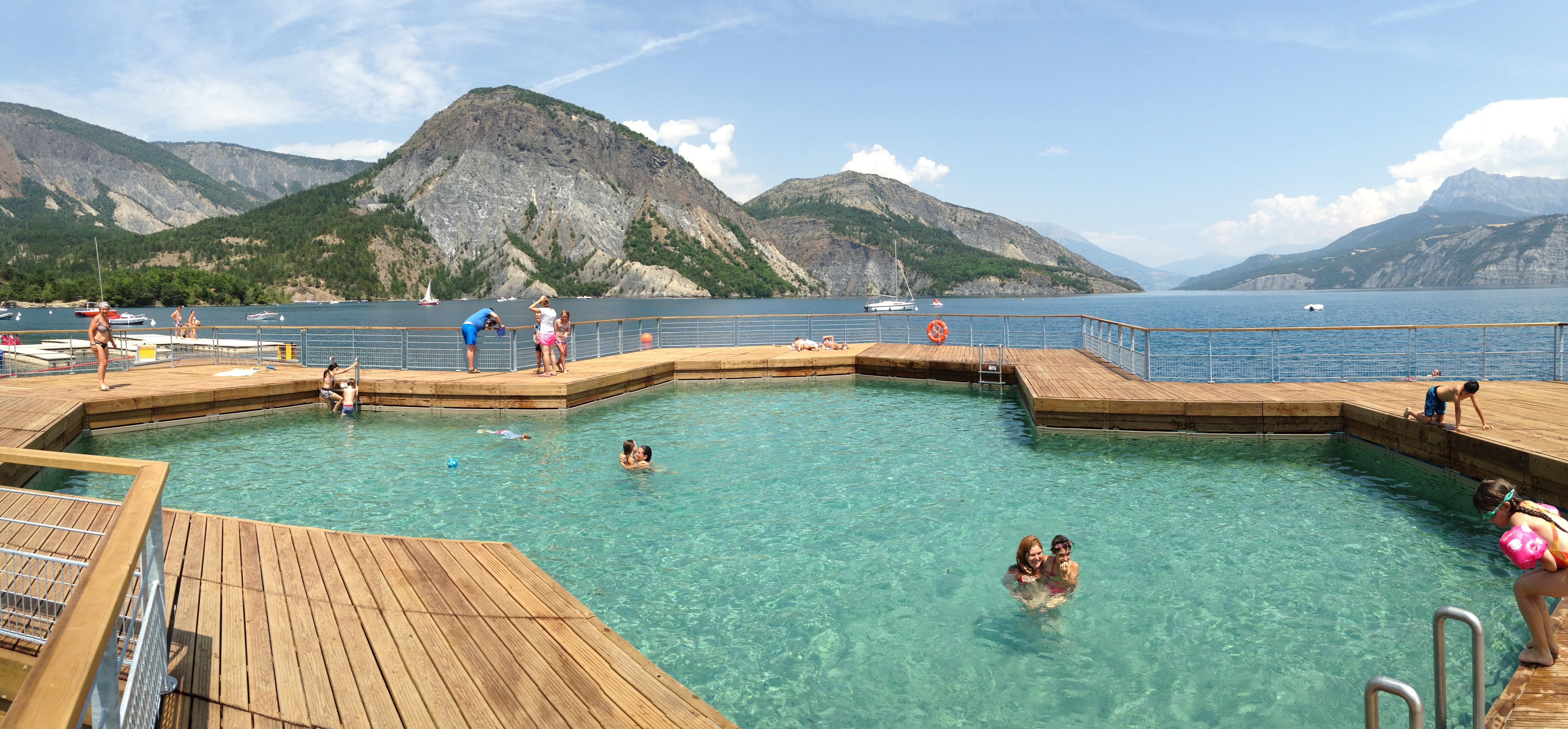 floating pool on lake