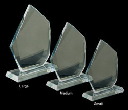 Clear Crystal Glass Award 12mm thick glass, 150mm tall (comes with gift box)