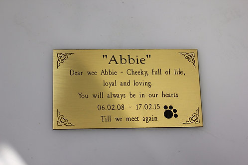 Thin Brass plaque - Customised to suit