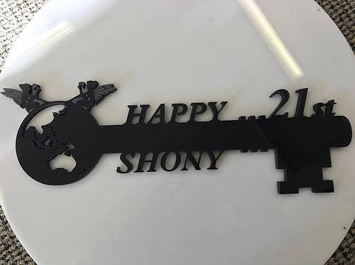 Acrylic 21st key custom made
