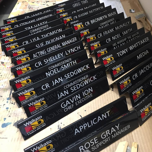 Desk signs - Customised to suit