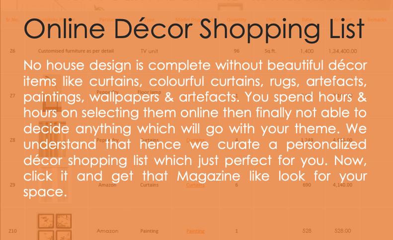 Online Decor Shopping List